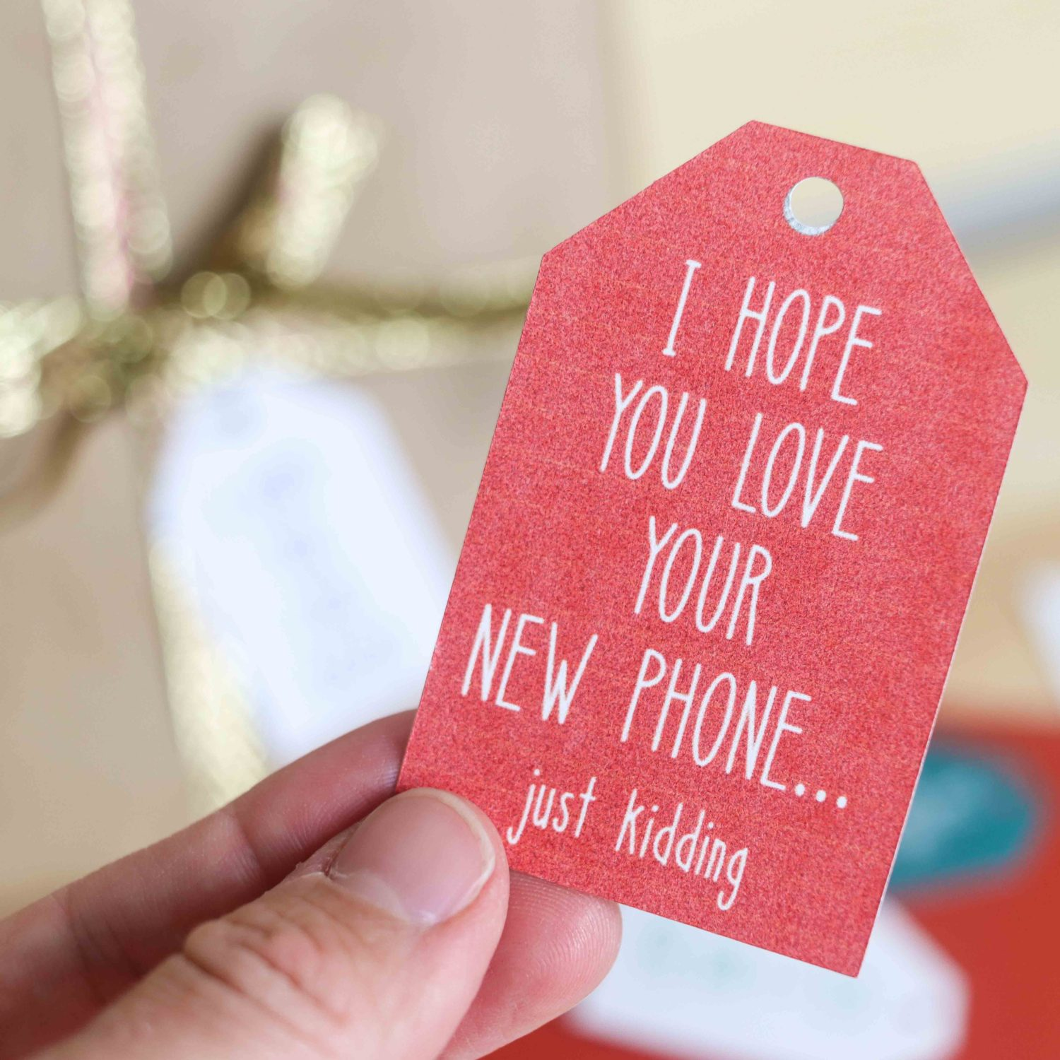I hope you love your new phone. Christmas gift tag