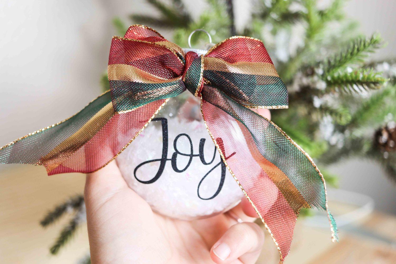Joy Christmas ornament made with Cricut