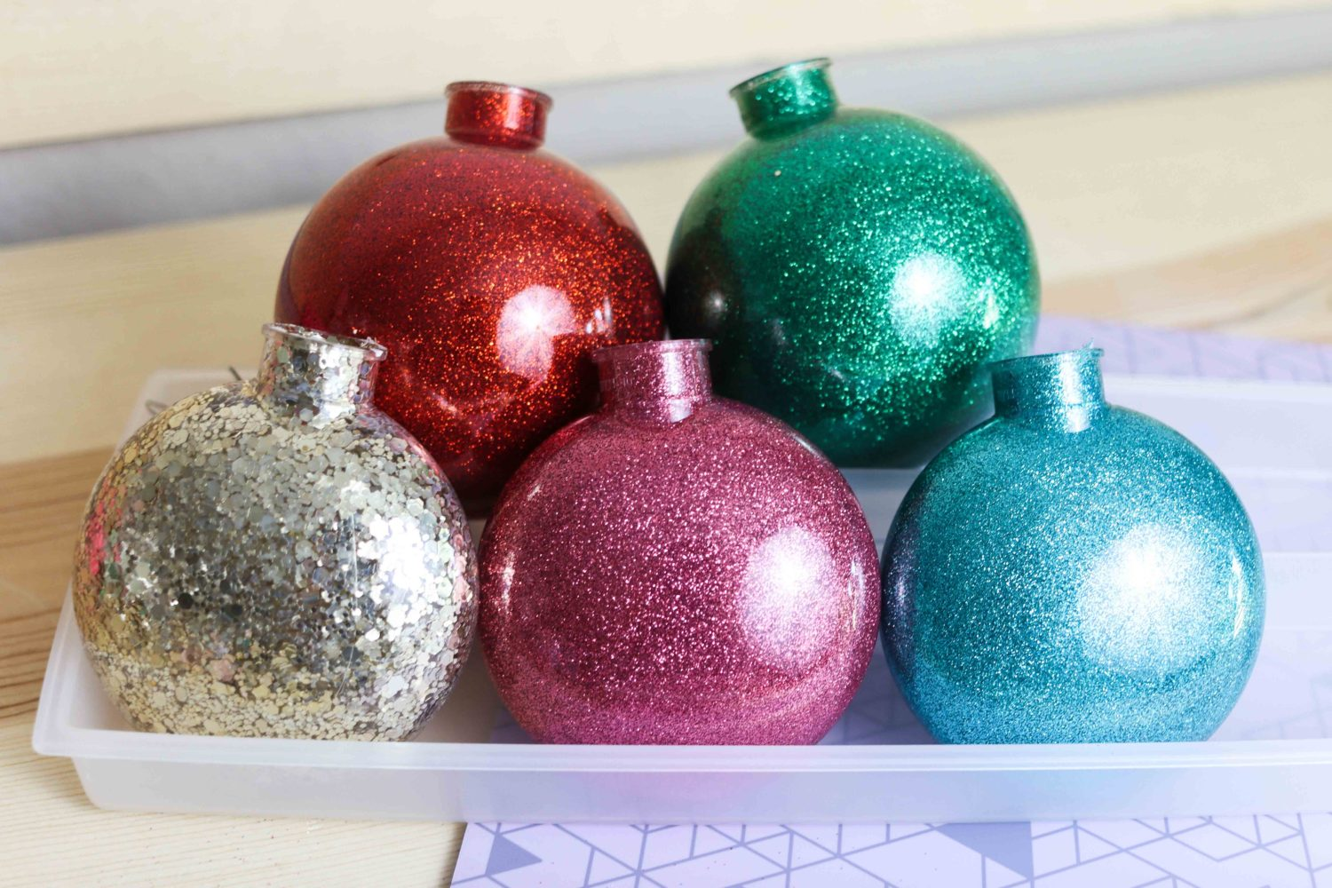 Multiple Christmas Ornament made with polycrylic and glitter