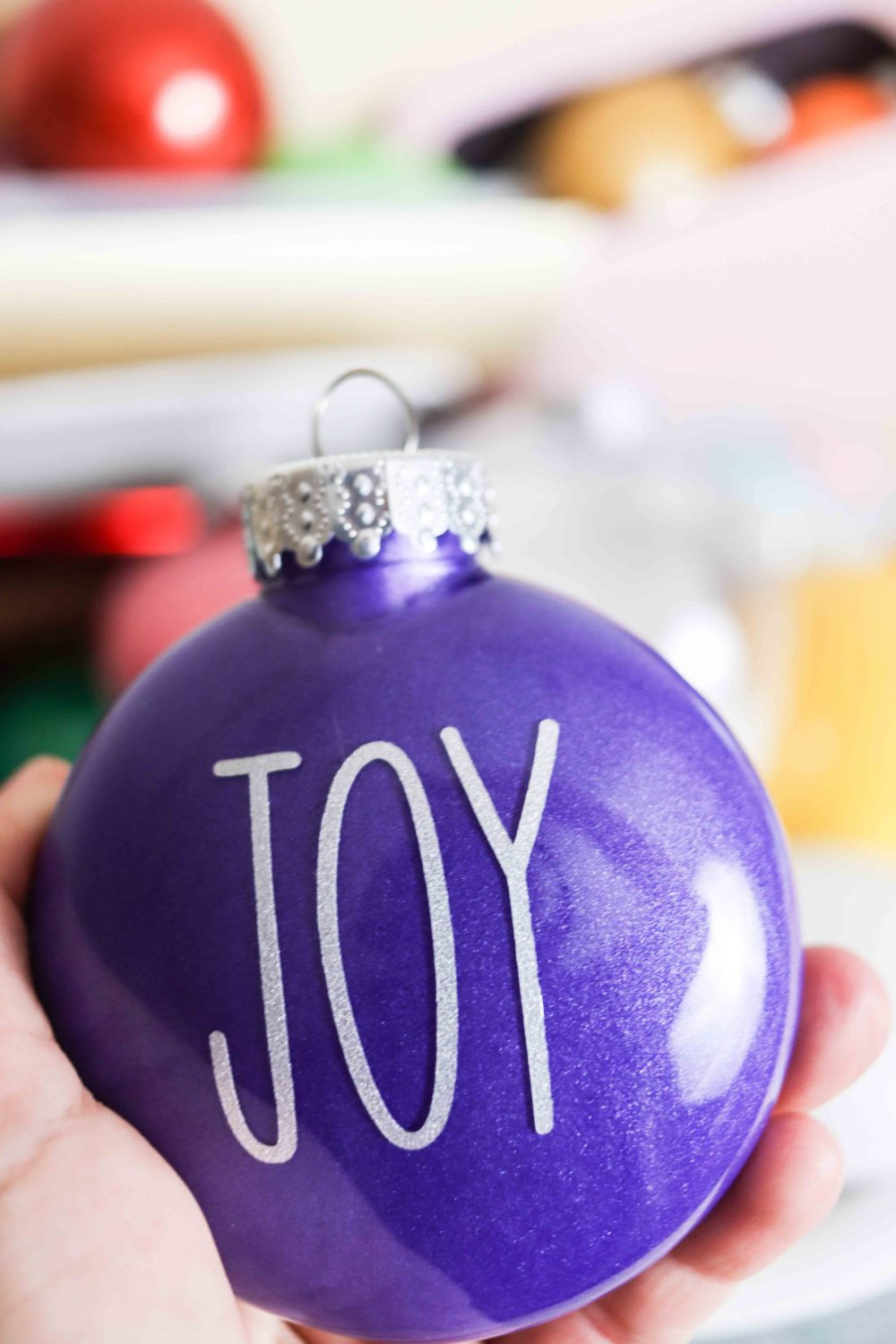 Ornament made with paint and decorated with vinyl
