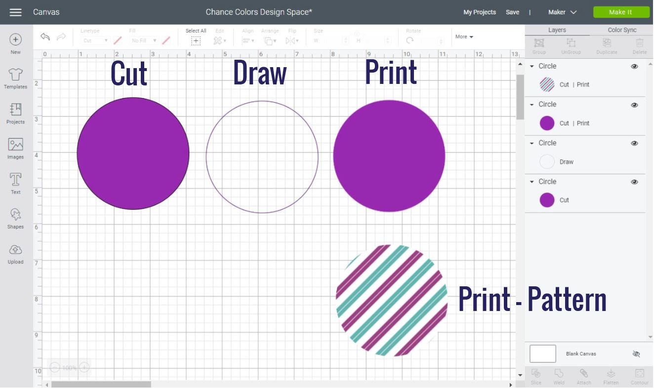 Different types to add color in Cricut Design Space