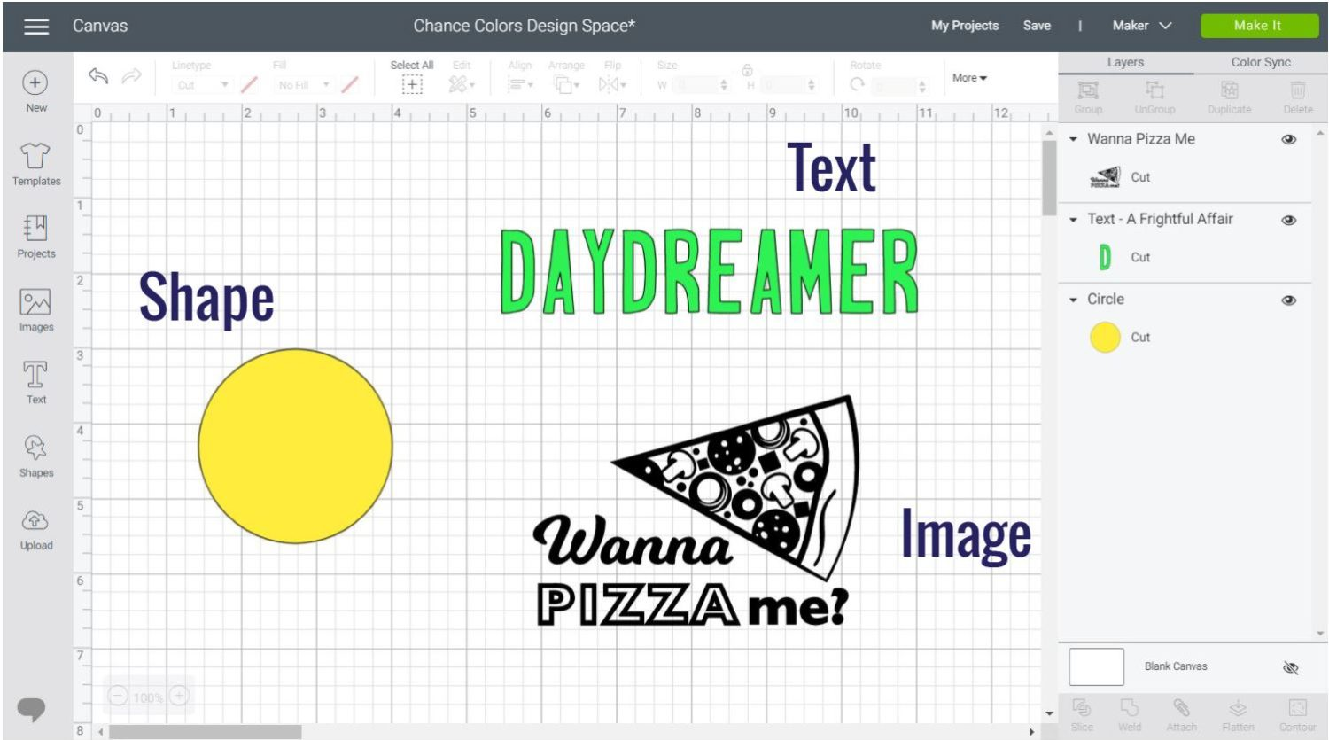 Different types of layers you can add color to in Cricut Design Space