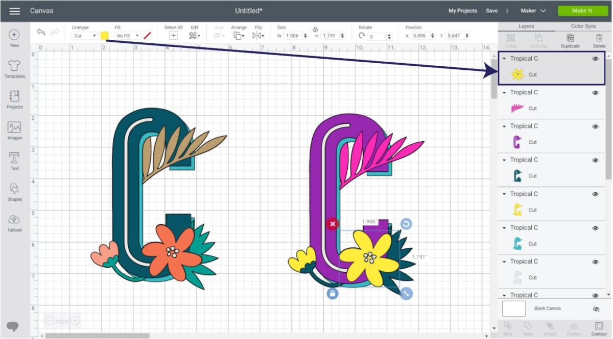Changing colors of a multi-layer image in Cricut Design Space