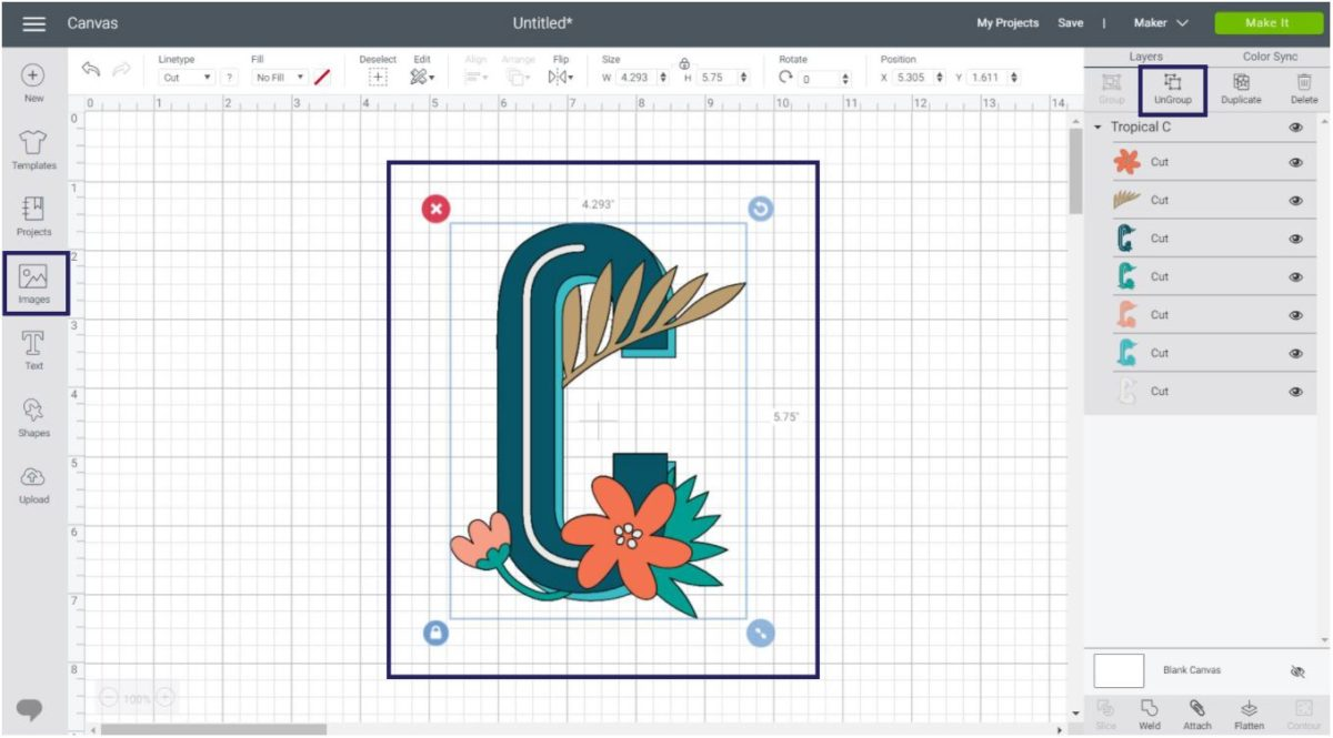 How to ungroup a multi layer image to color each one of the layers in Cricut Design Space