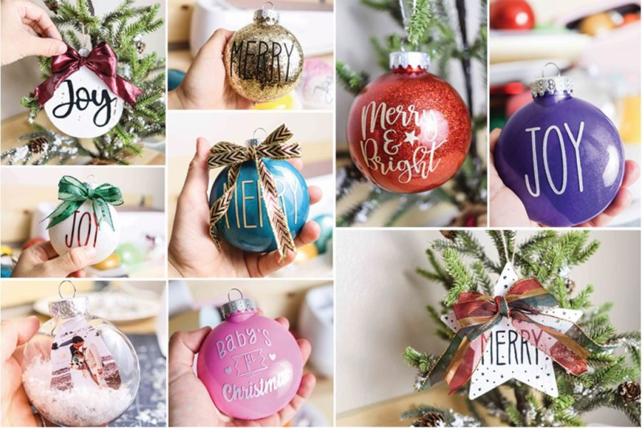 Multiple Christmas Ornaments collage. Different colors and techniques glitter, vinyl,