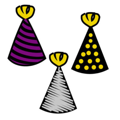 Birthday hats in different colors Free SVG Template for photo booth props