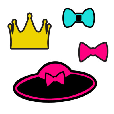 Crown, lady hat, bows Free SVG Template for photo booth props
