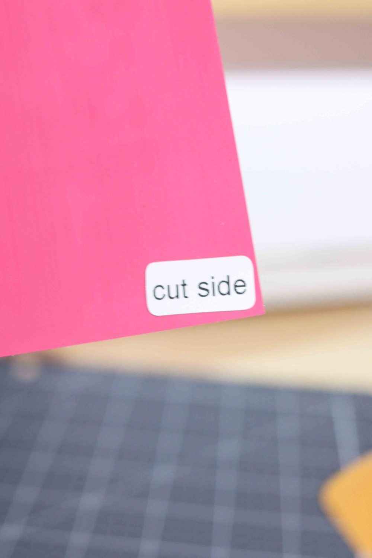 Iron-on vinyl cutting side