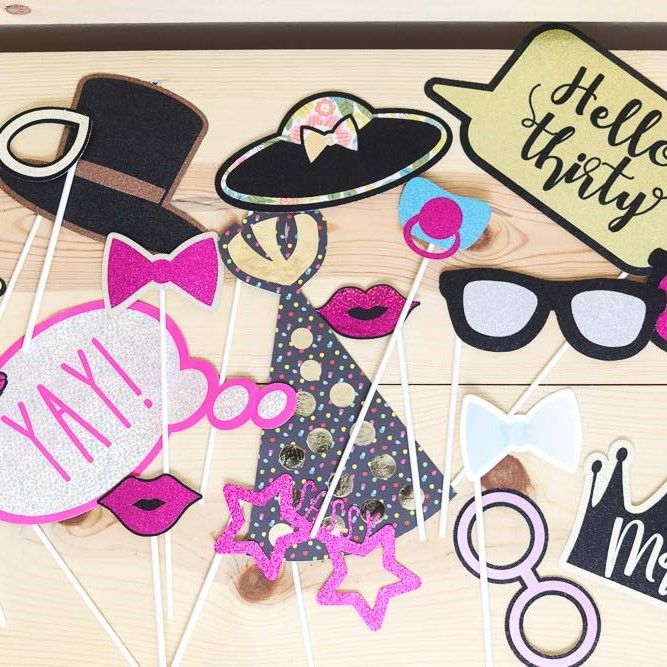 assorted photo booth props made with cricut