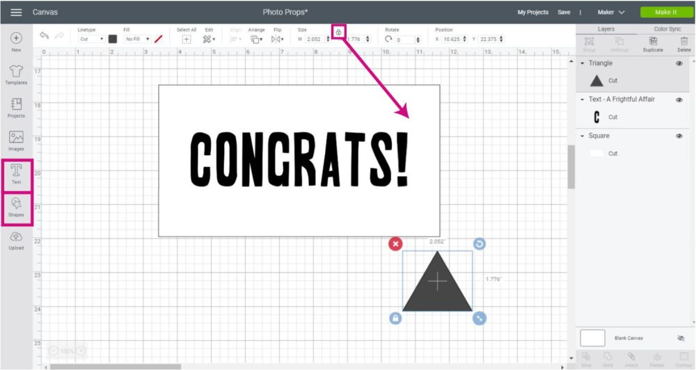 Add shapes and text in Cricut Design Space to make photo booth props