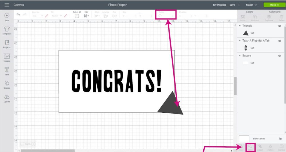 rotating a triangle in Cricut Design Space and placing on top of a rectangle