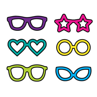 Six different glasses (heart, circle, star, traditional, etc) Free SVG Template for photo booth props