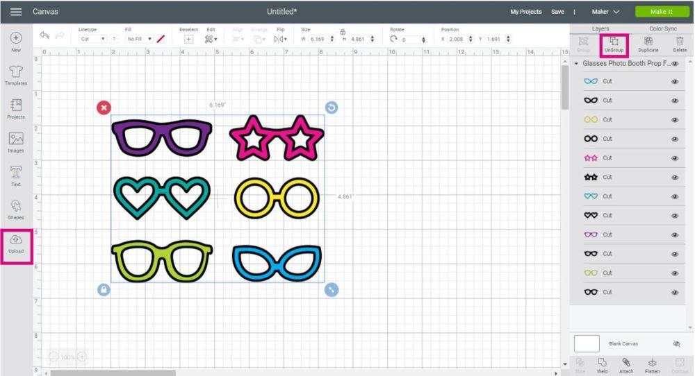Glasses SVG files in Cricut Canvas Area