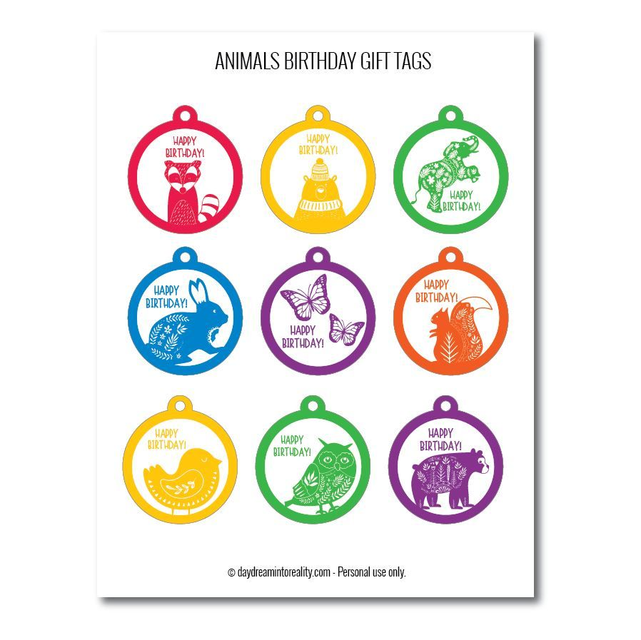 Cute animals birthday gift tags free printables assorted colors