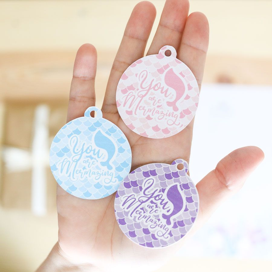 Mermaid gift tags that say you are mermaizing