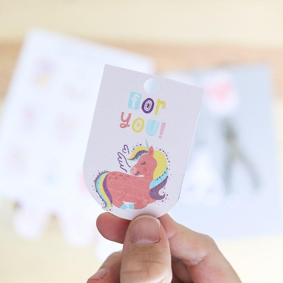 """For you"" unicorn birthday gift tag free printable"