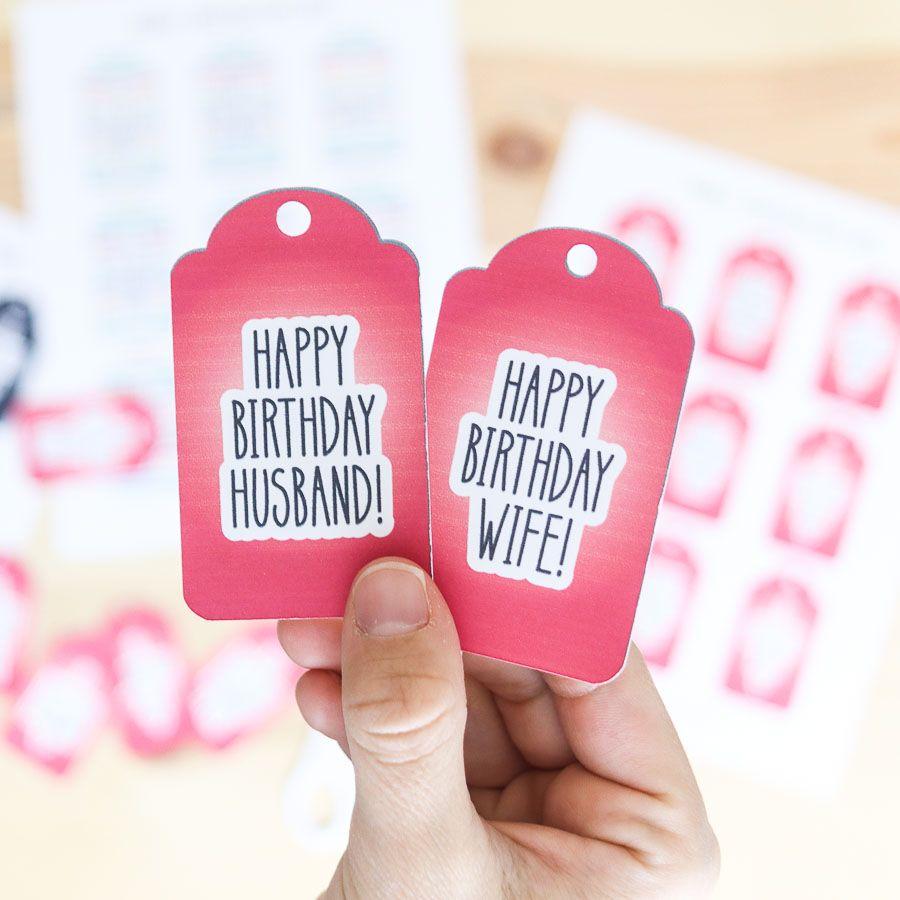 """Happy birthday wife and husband"" birthday gift tag free printable"