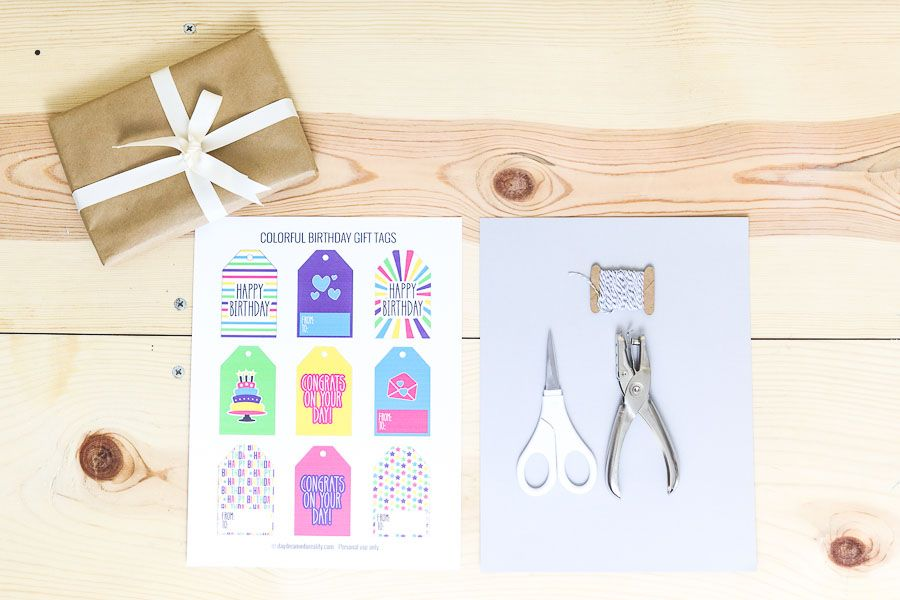 Tools needed to make gift tags