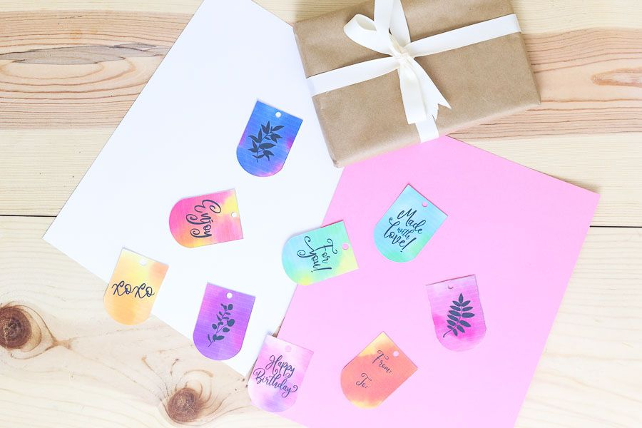 Assorted watercolor birthday gift tags