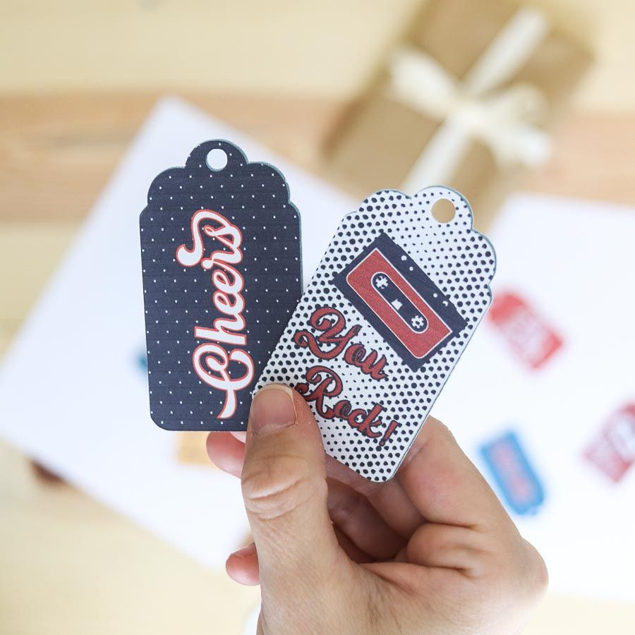 """""""Cheers"""" and """"you rock"""" retro-style birthday gift tag free printable"""