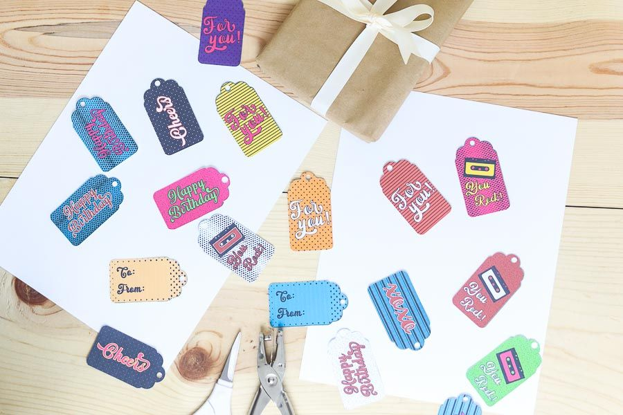 assorted retro-style birthday gift tag free printable