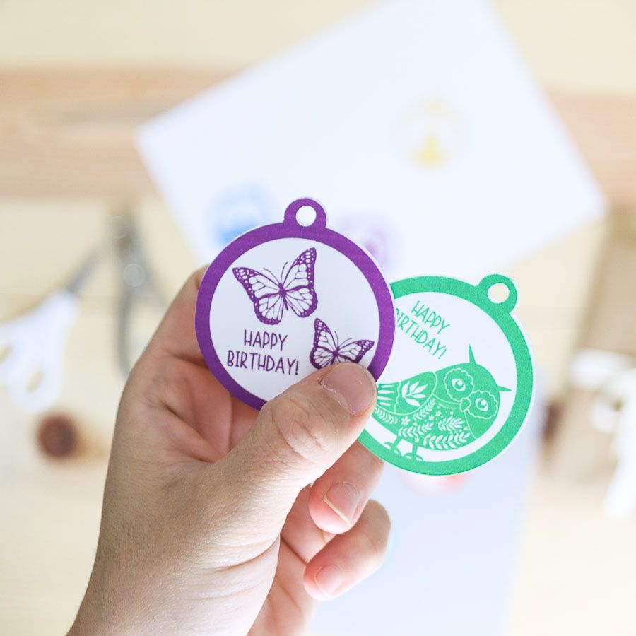 """""""Butterflies"""" and """"owl"""" birthday gift tag free printable"""