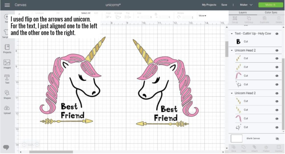 """Unicorn Best friend design looking at each other using """"FLIP"""" in Cricut Design Space."""
