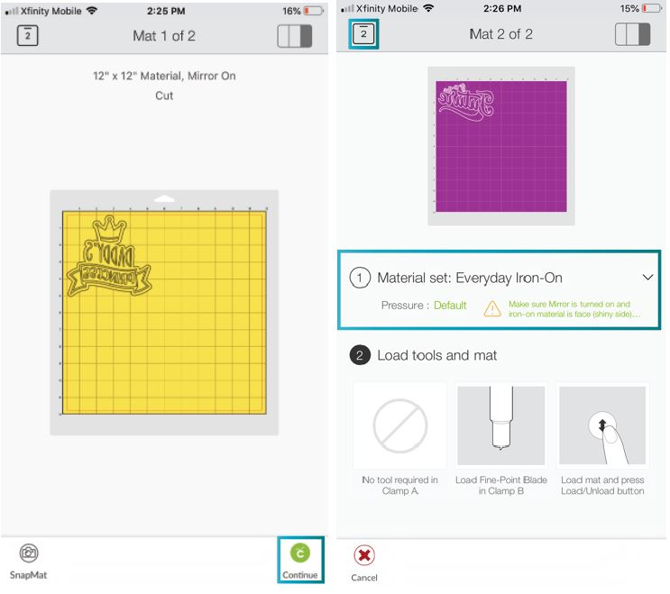 setting material in Cricut's app and checking warning when using Iron-On.