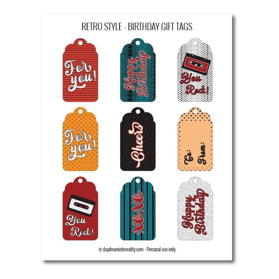 Retro-style birthday gift tags free printables