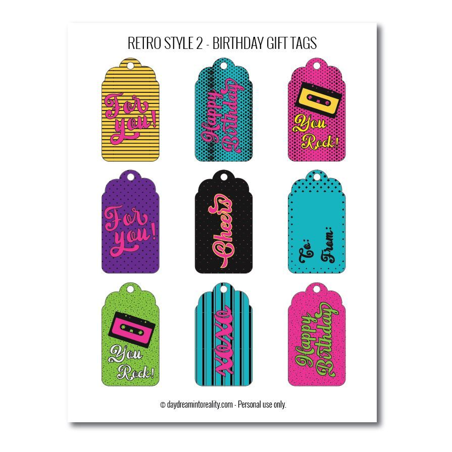 Retro-style birthday gift tags free printables bright colors