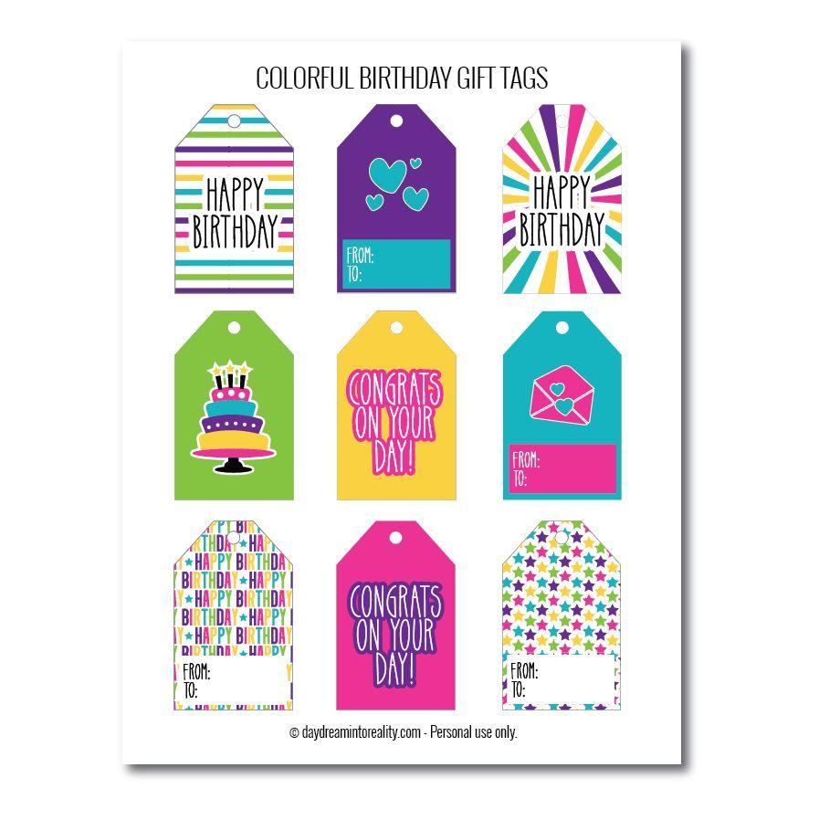 Bright birthday gift tags free printables