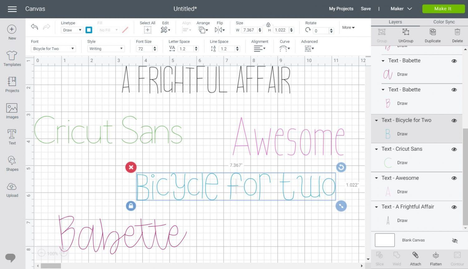 Writing fonts in Cricut Design Space