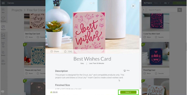 Cricut Joy Best Wishes project