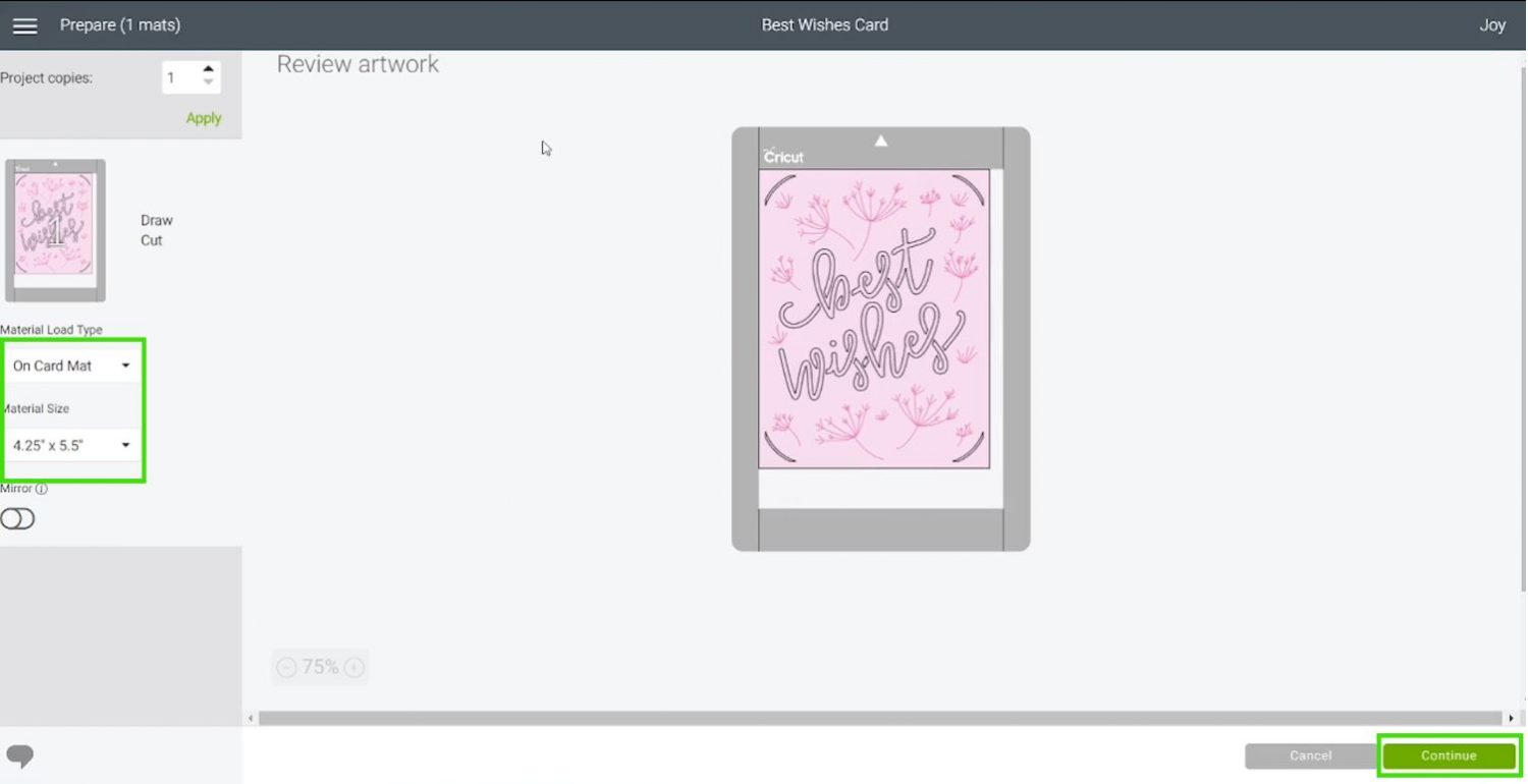 Cricut Joy best wishes sending project to cut