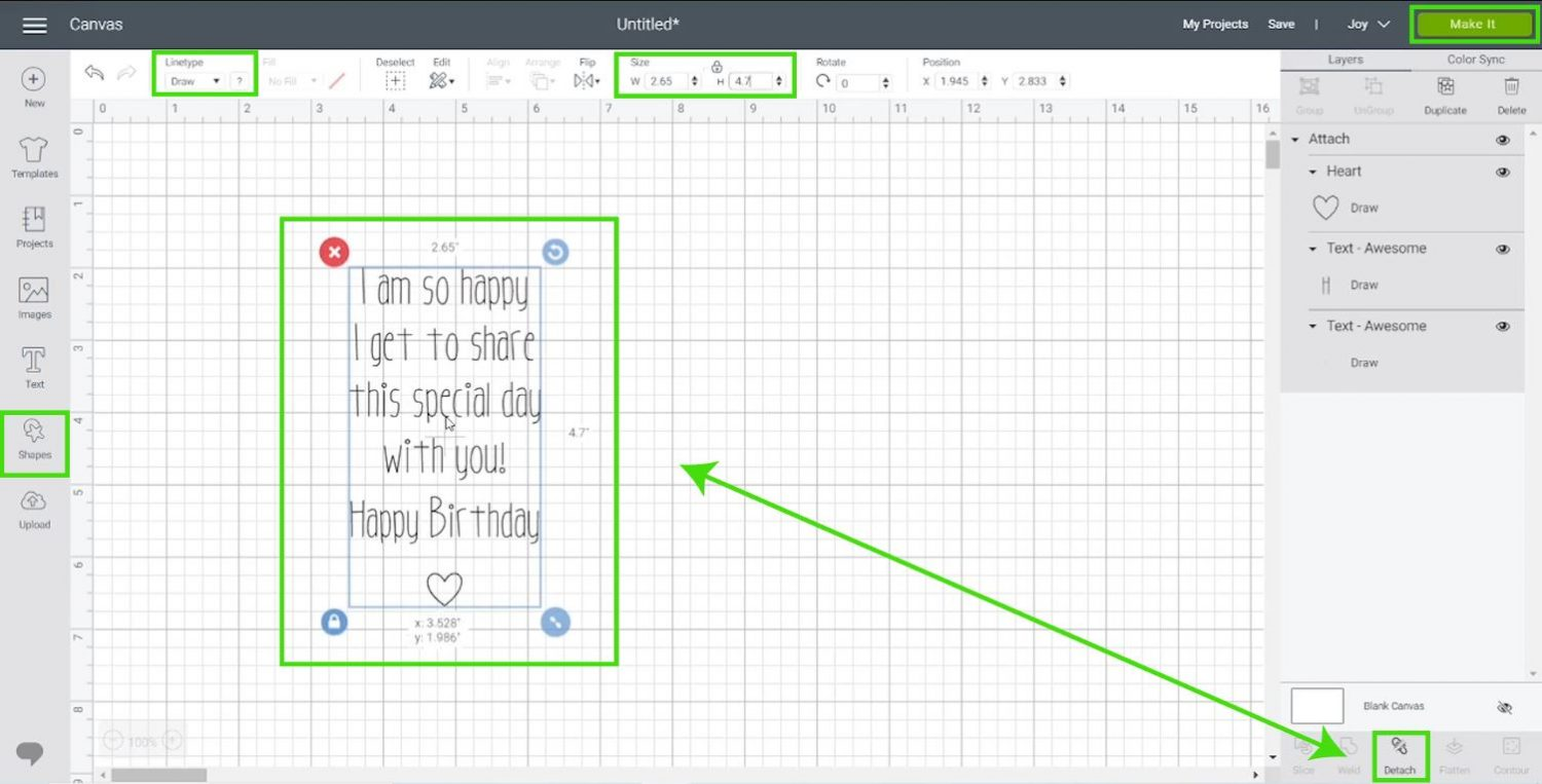 attaching text and heart in Cricut Design Space