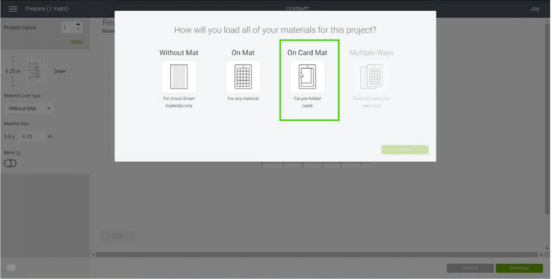 Choosing Card Mat in Cricut Design Space