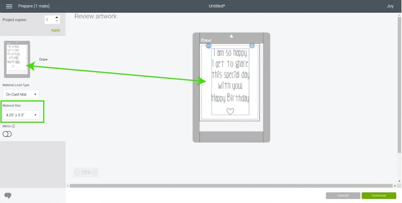 centering text in Cricut Design Space for writing inside a Cricut Joy Mat