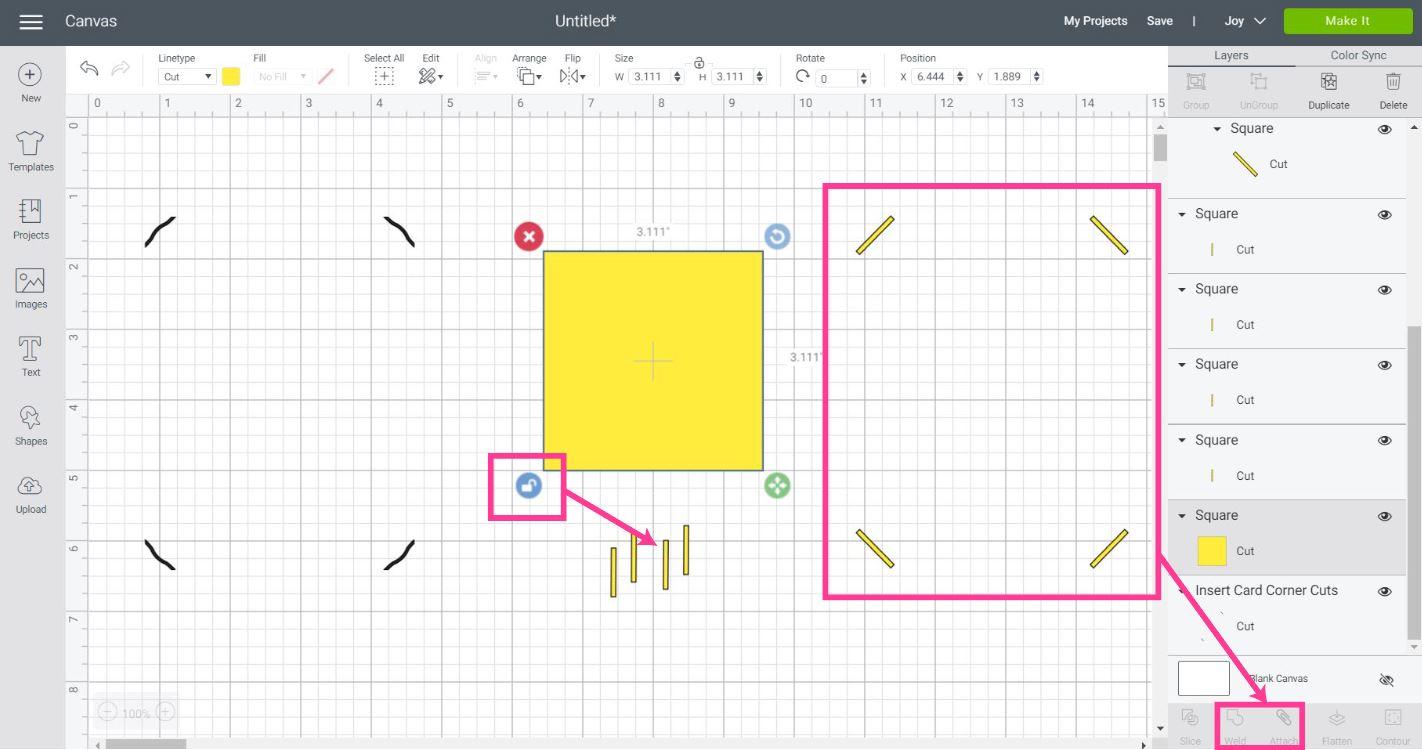 make a insert corner cut card with a square
