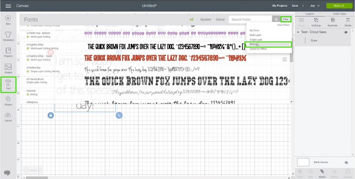 adding writing text in Cricut Design Space