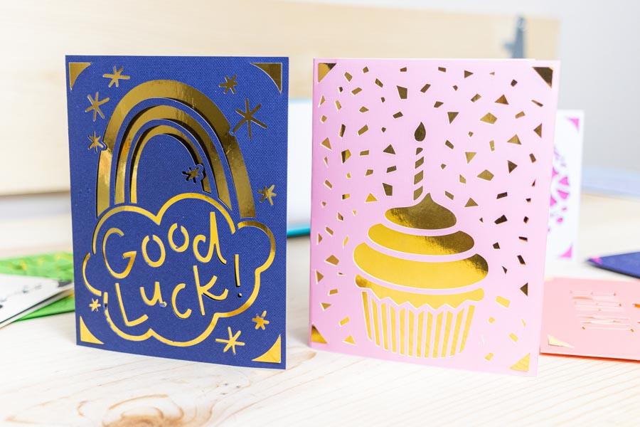 good luck and birthday card made with Cricut Joy