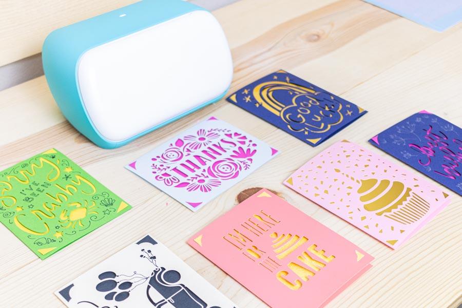 Multiple cards made with Cricut Joy