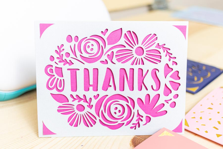 Thank you card made with Cricut Joy
