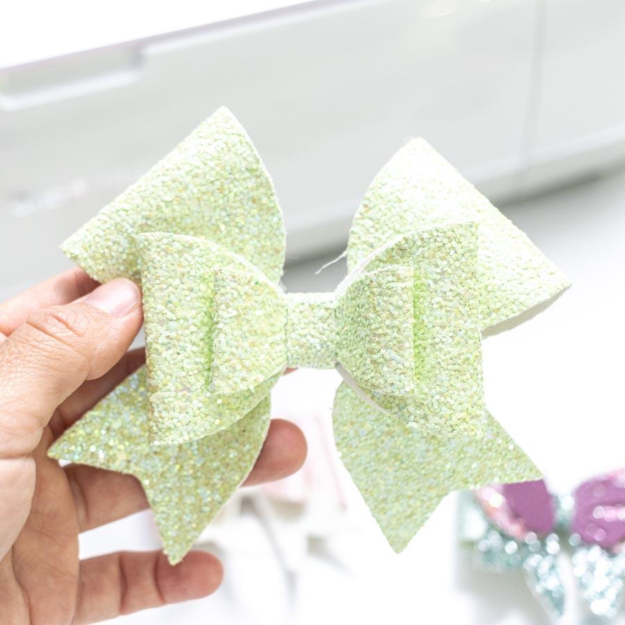 fancy hair bow made with cricut