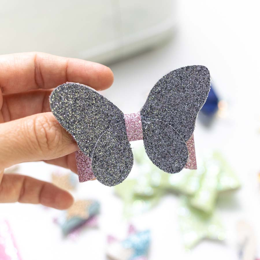 butterfly bow made with fine glitter canvas