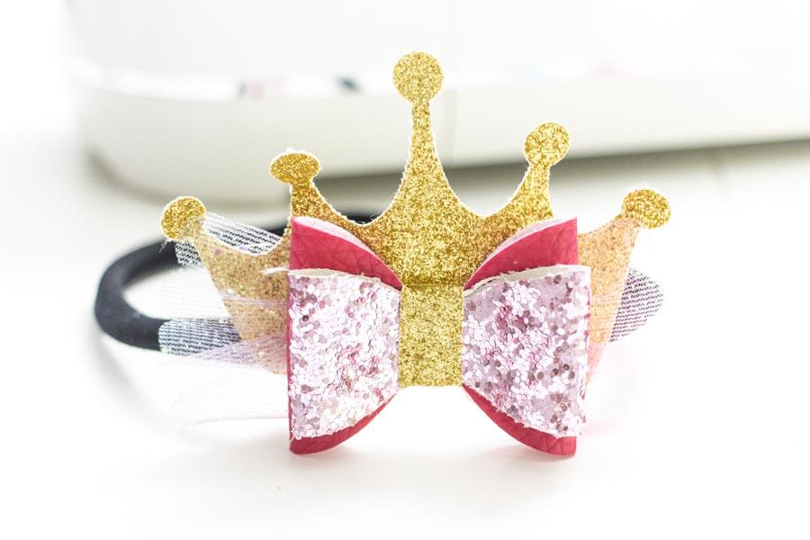 princess hair bow made with cricut