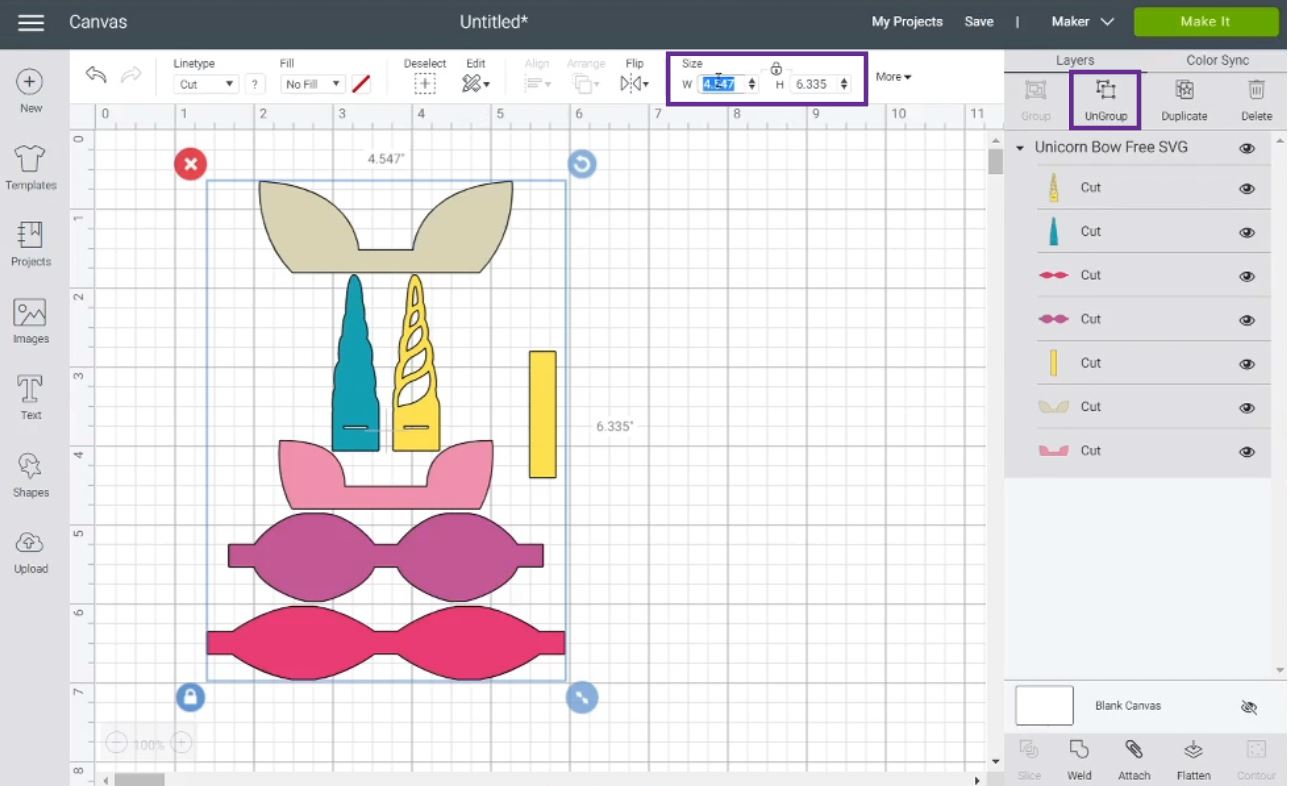 resizing hair bow in Cricut Design Space