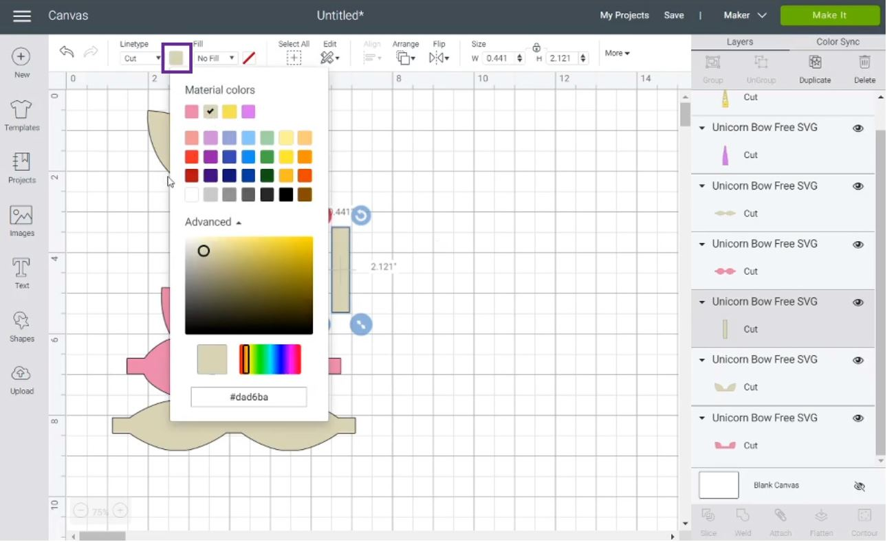 change hair bow colors in Cricut Design Space