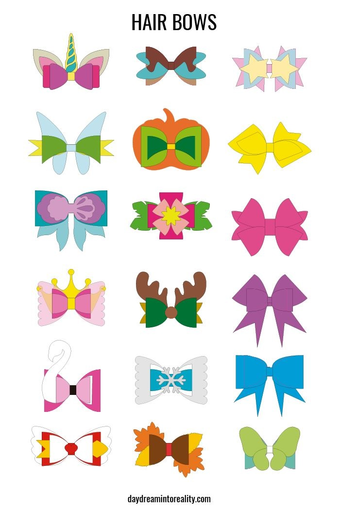 different hair bows, how they look when assembled.