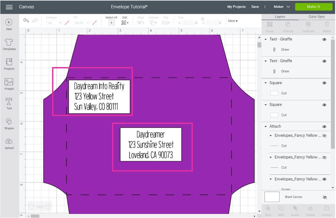making address labels in Cricut Design Space