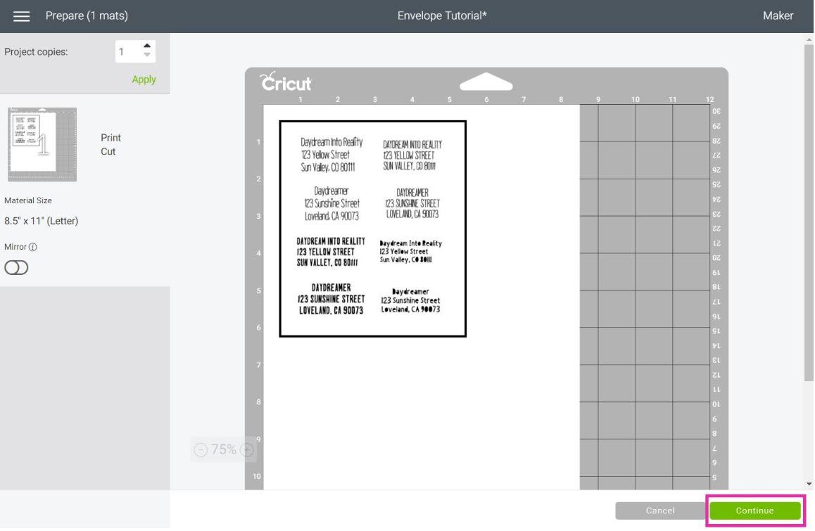 print then cut mat preview of envelope labels
